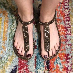 Frye Kayla T Strap Leather Sandals